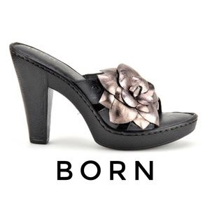 Born Rozalia Heels With Metallic Leather  Flower